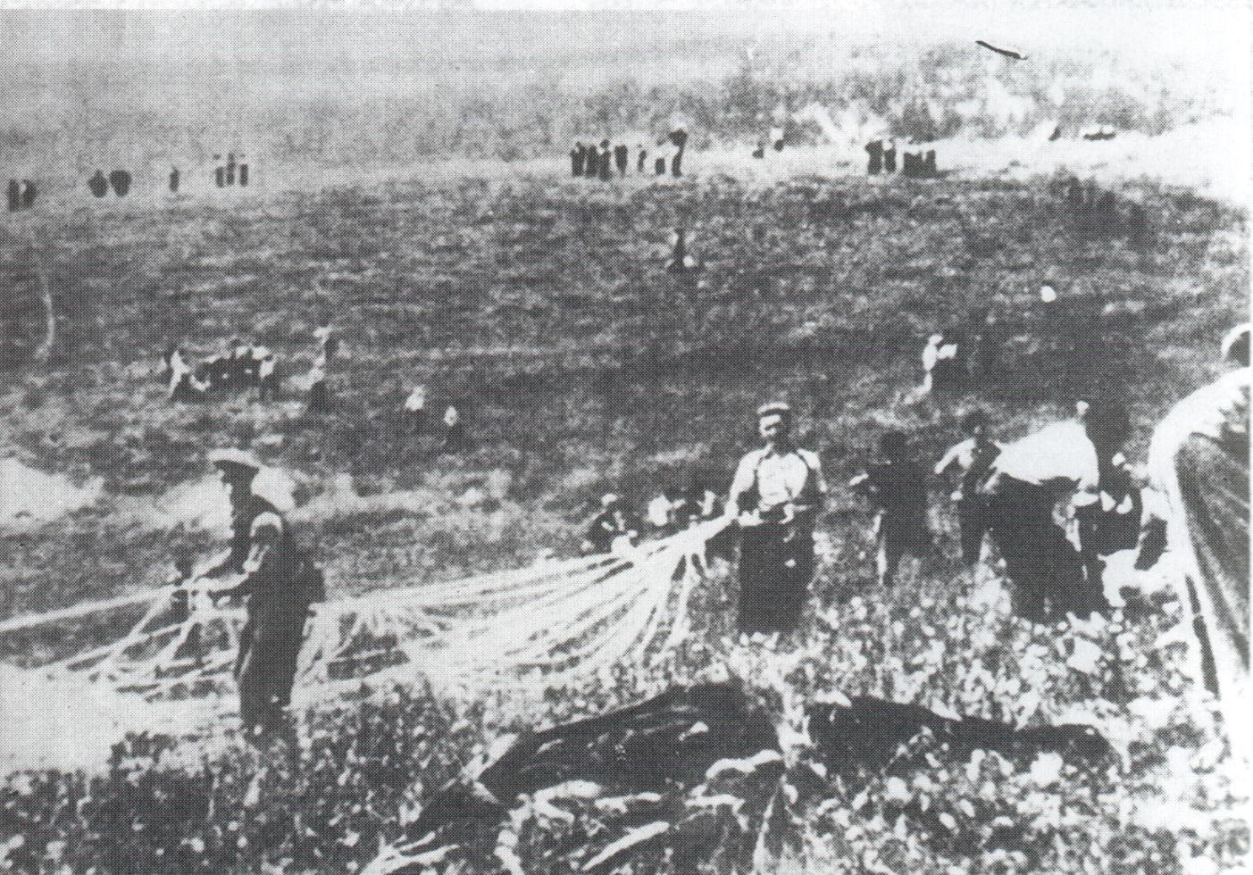 Grupos de resistentes, recogiendo los parachutajes enviados por los aliados.