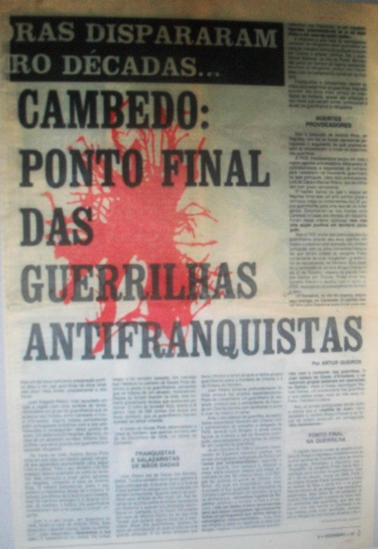 Noticia sobre los combates entre guerrilleros y guardias en Cambedo en 1946.