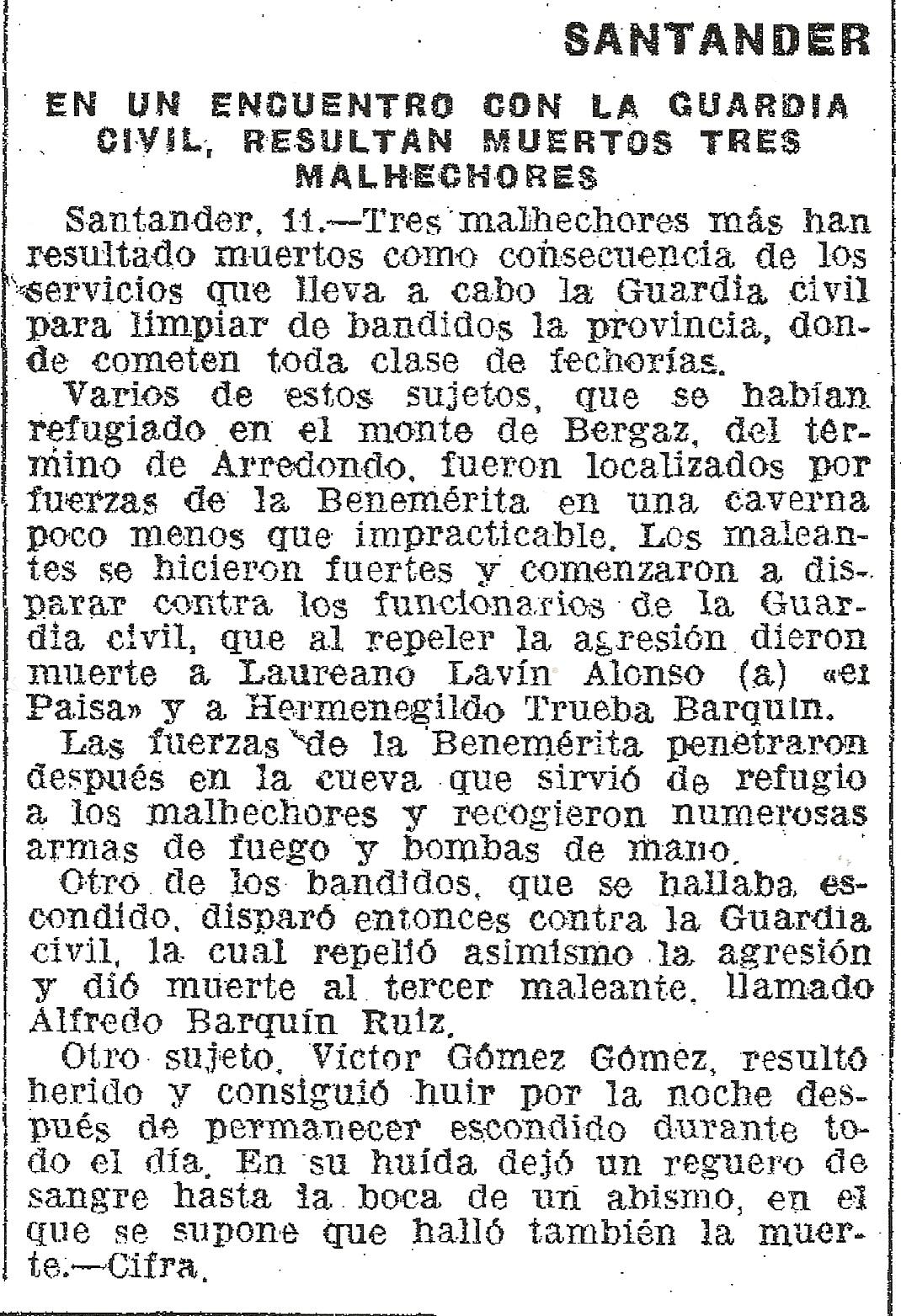 Nota de prensa aparecida el 12-11-1941.