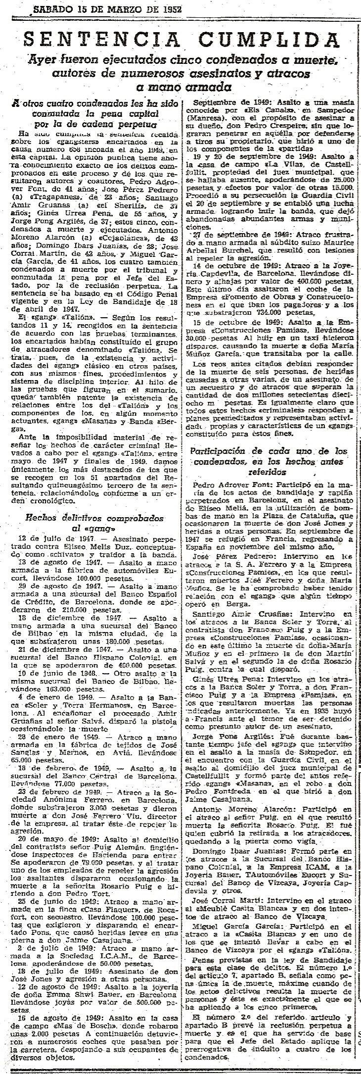 La Vanguardia del 15-3-52 informa sobre las ejecuciones de Ginés y otros 4 compañeros.
