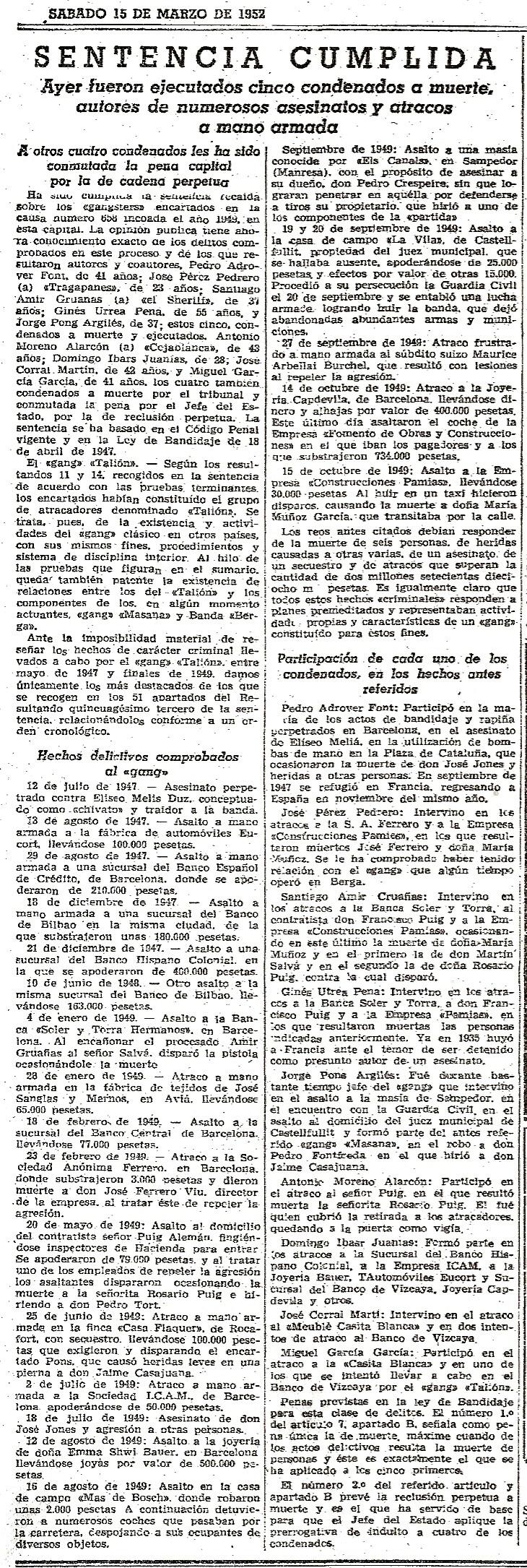 Ejecución de Santiago Amir y otros cuatro miembros de los grupos de acción. La Vanguardia 15-3-1952.