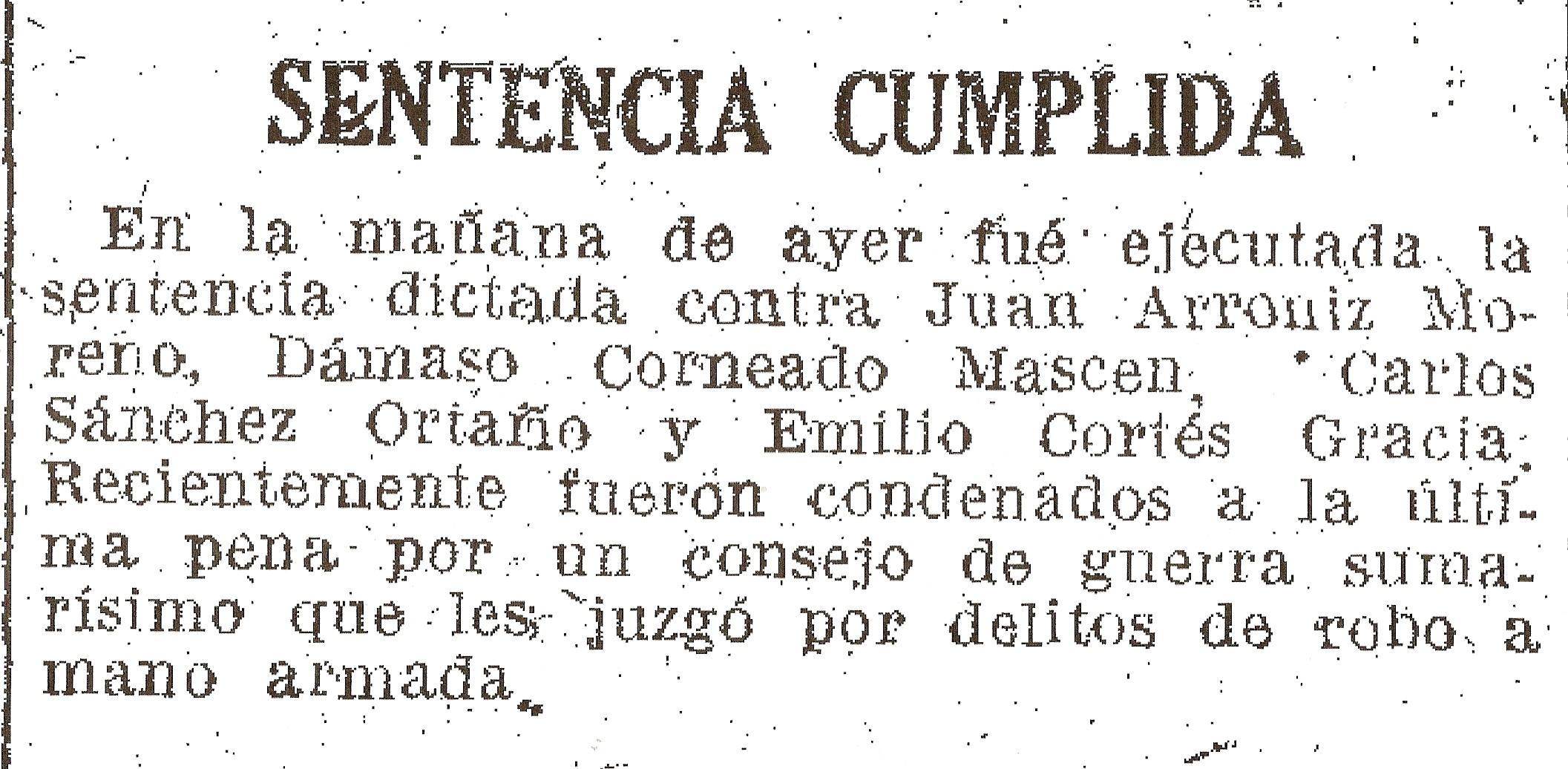 La Vanguardia informa sobre la ejecución departe de los miembros del grupo. 19-6-1940.