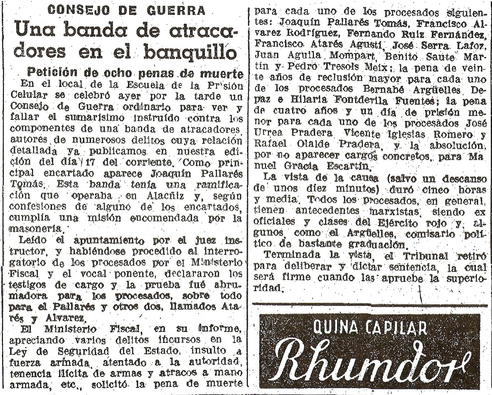 Consejo de guerra contra el grupo Pallarés. La Vanguardia 20-4-1940.