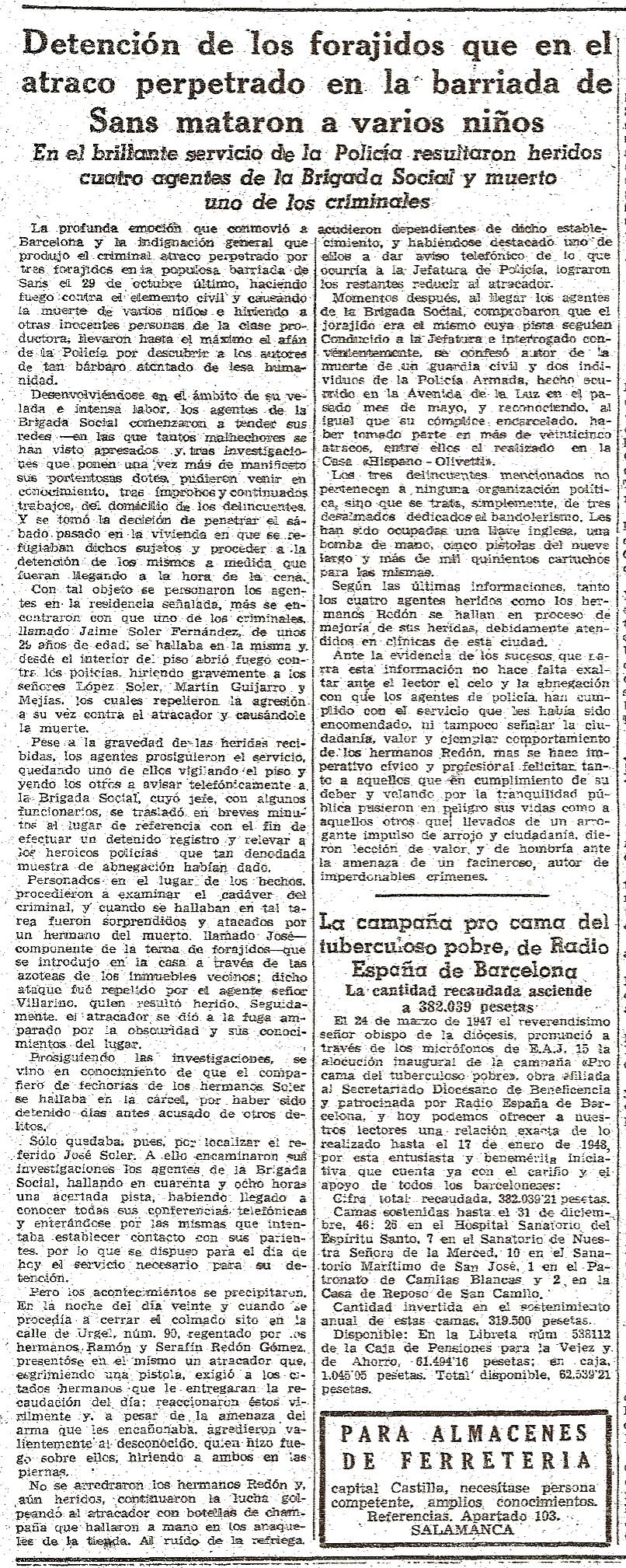 Noticia aparecida en La Vanguardia el 22 de enero de 1948.
