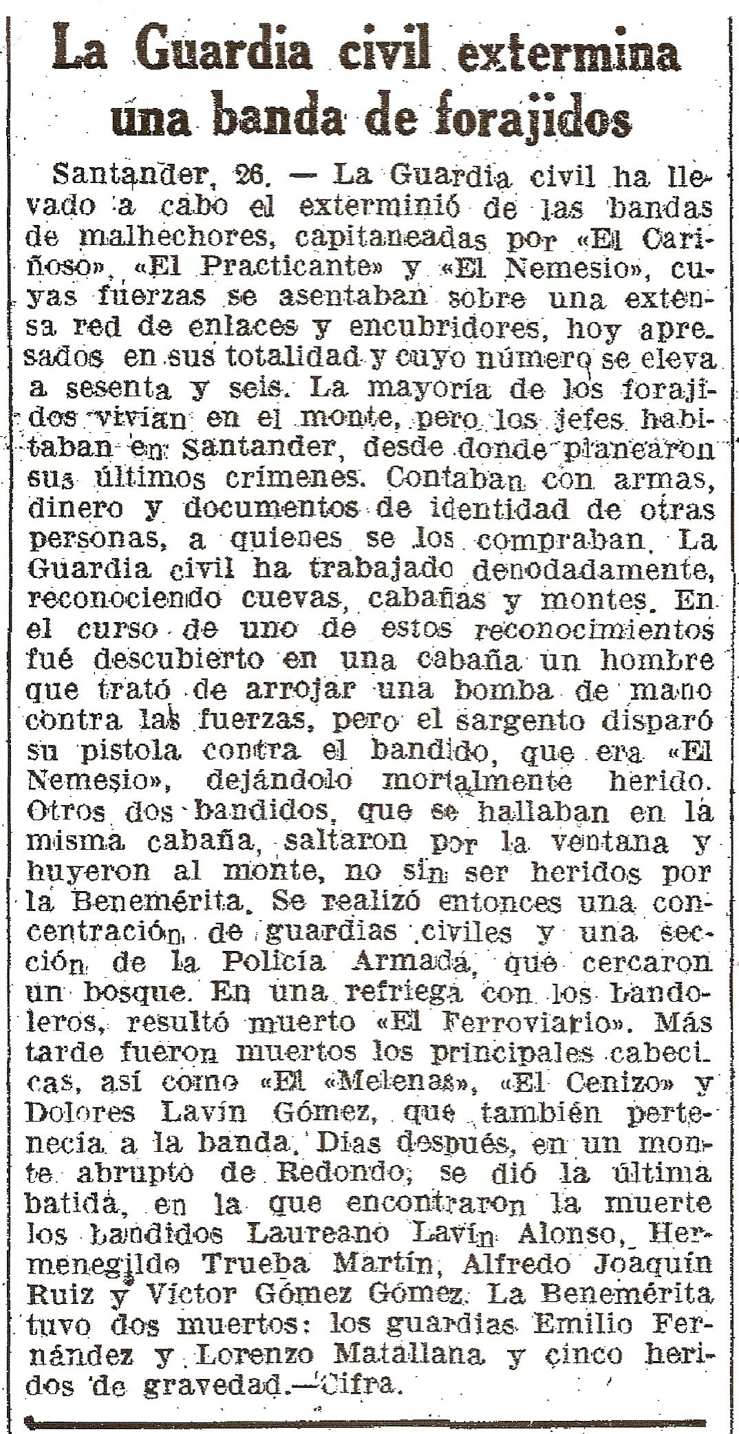 Nota de prensa aparecida el 22-11-1941