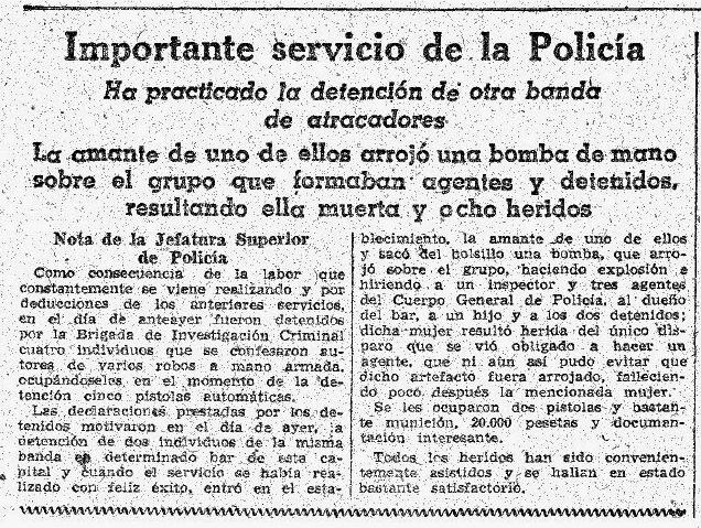 "Recorte de La Vanguardia del 26 de enero de 1946 detallando la muerte de ""Paquita"""