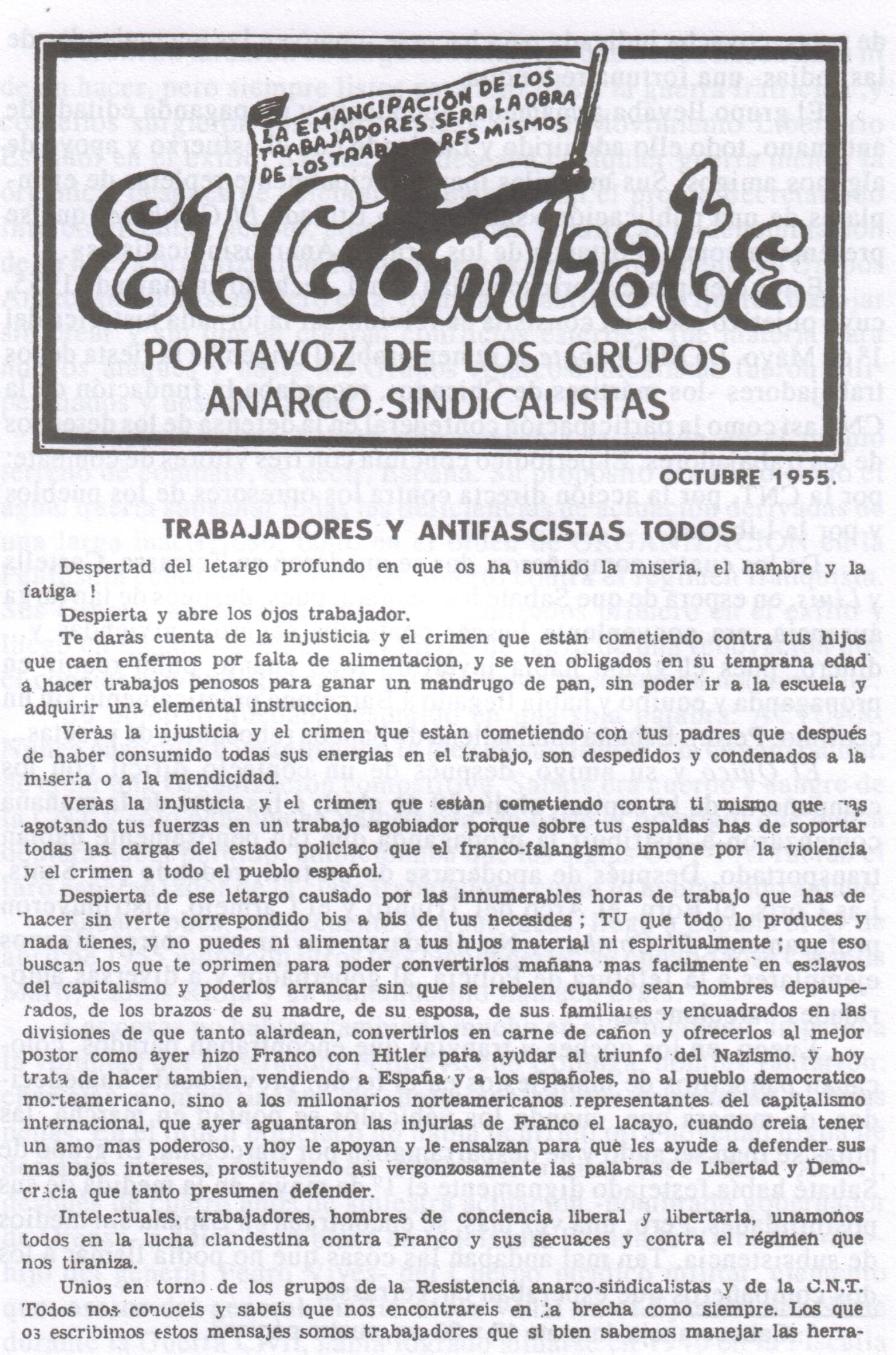 El Combate, órgano de los Grupos Anarco-Sindicalistas.(Octubre 1955)