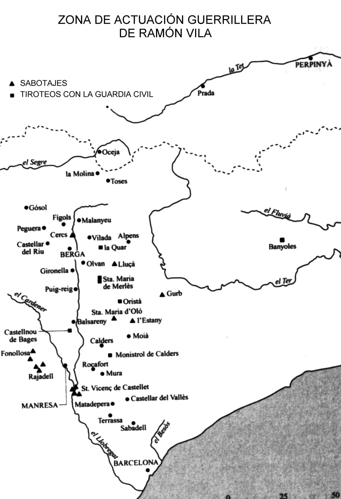 Mapa extraído del libro sobre Ramón Vila escrito por Josep Clara.