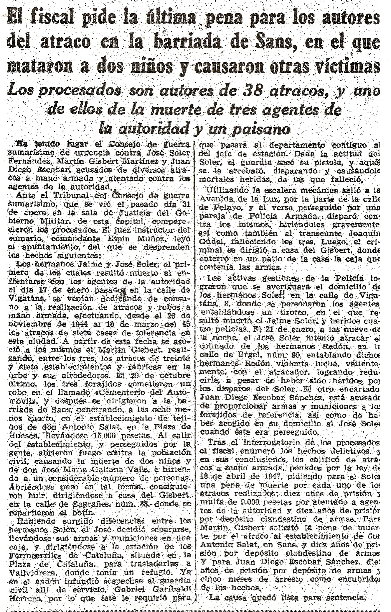 Recorte del 5 de febrero de 1948 respectivo al grupo Soler Fernández.