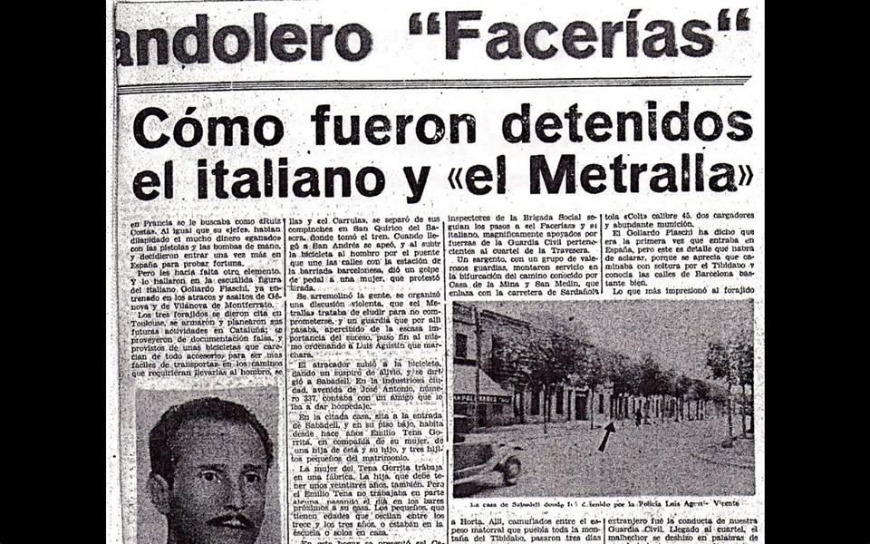 Recorte de la época detallando la detención de los compañeros de Facerías.