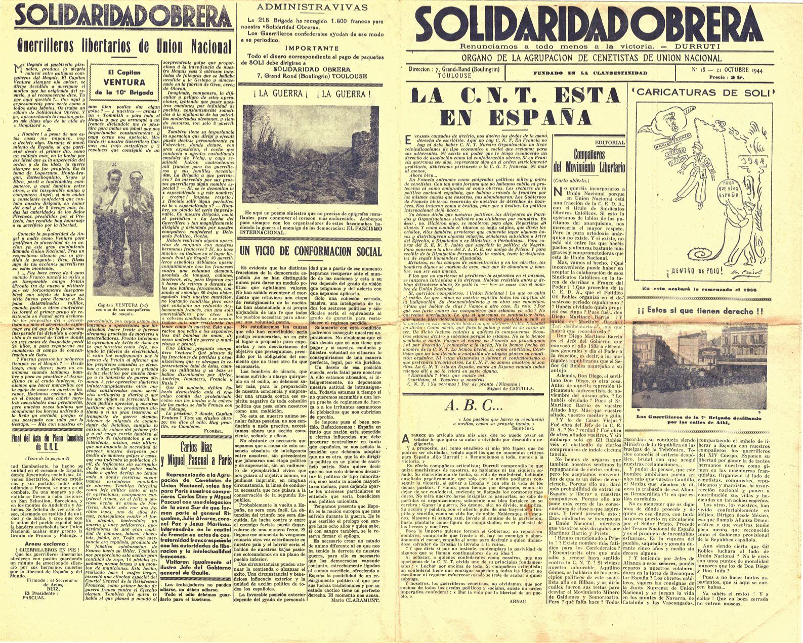 Solidaridad Obrera, órgano de la Agrupación de cenetistasen unión nacional. (Octubre 1944)