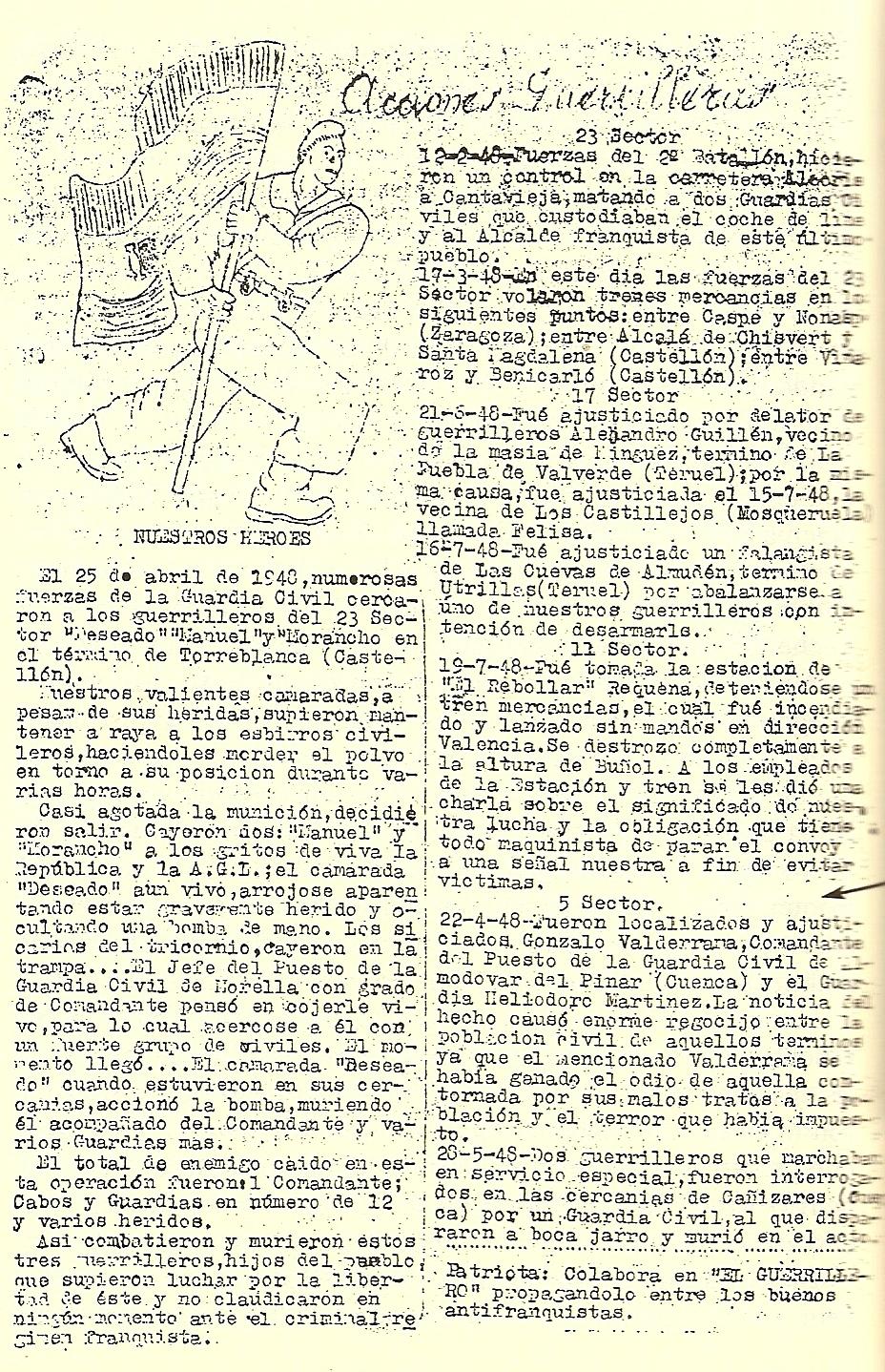 Parte de acciones de la Agrupación, primavera/verano de 1948.
