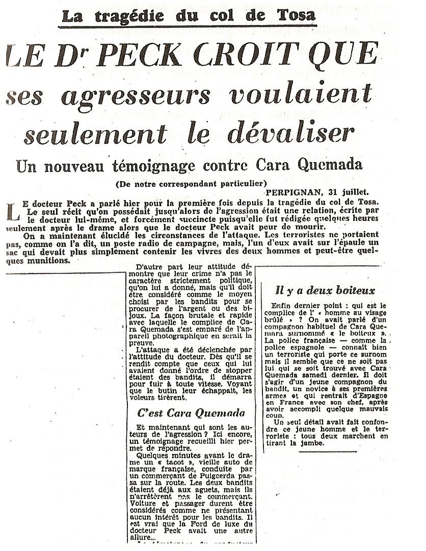 Recorte del Paris-Presse del 1-8-1951, inculpando a Ramón Vila sobre el asunto de la collada de Tosses.