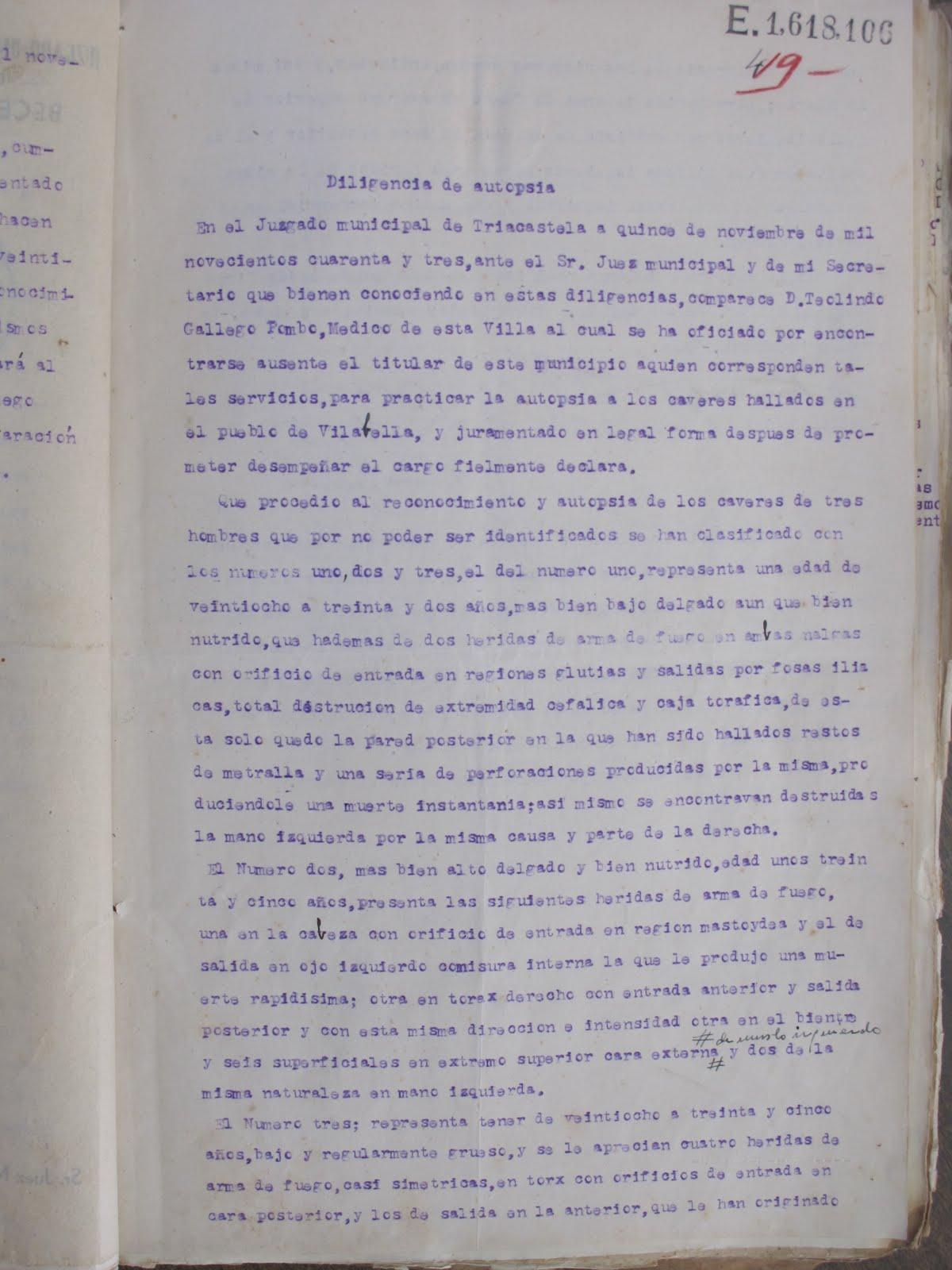 Informe de la autopsia realizada a Antonio Vega, Félix Yáñez y Pedro Voces.