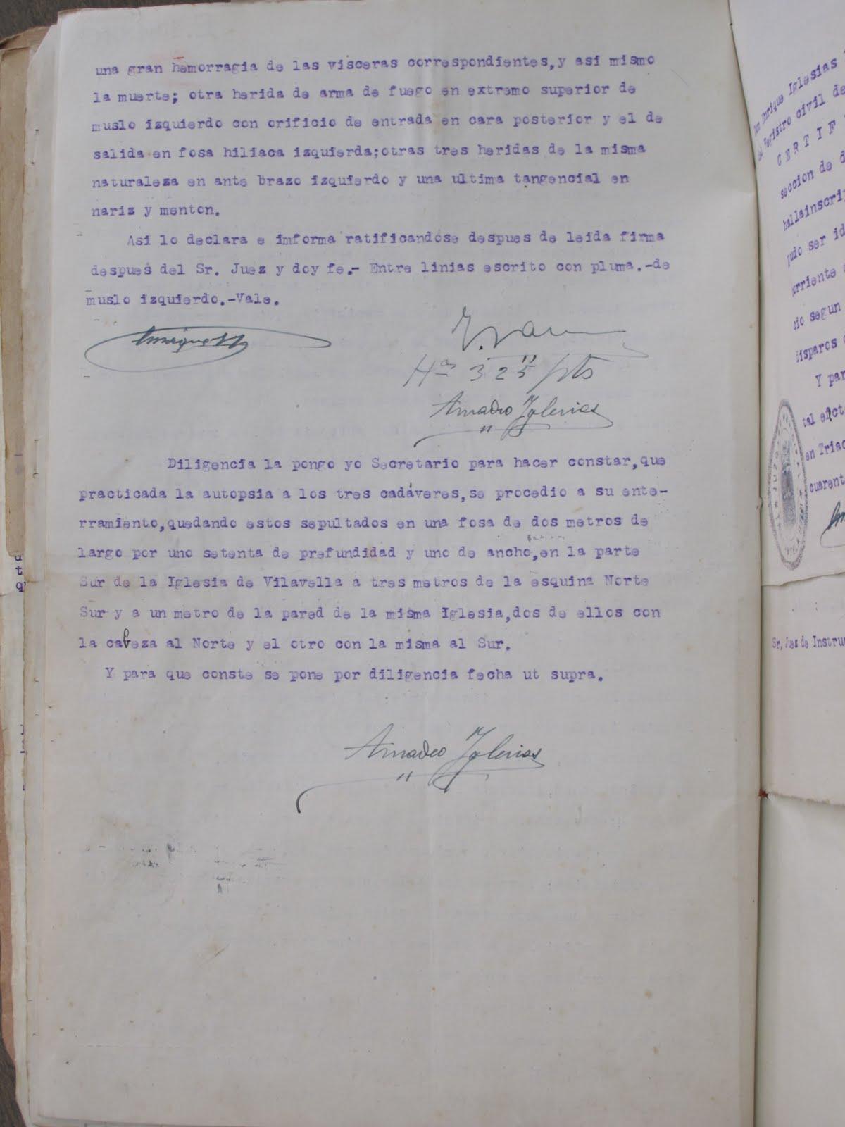 Continuación de la autopsia a los tres guerrilleros, noviembre de 1943.