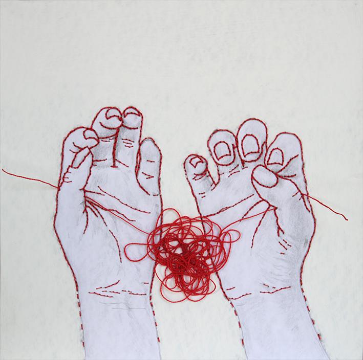 Begoña Arostegui (hilo y grafito sobre papel, 2014)