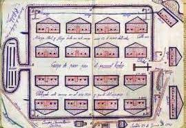 Boceto del campo de prisioneros de Castuera.