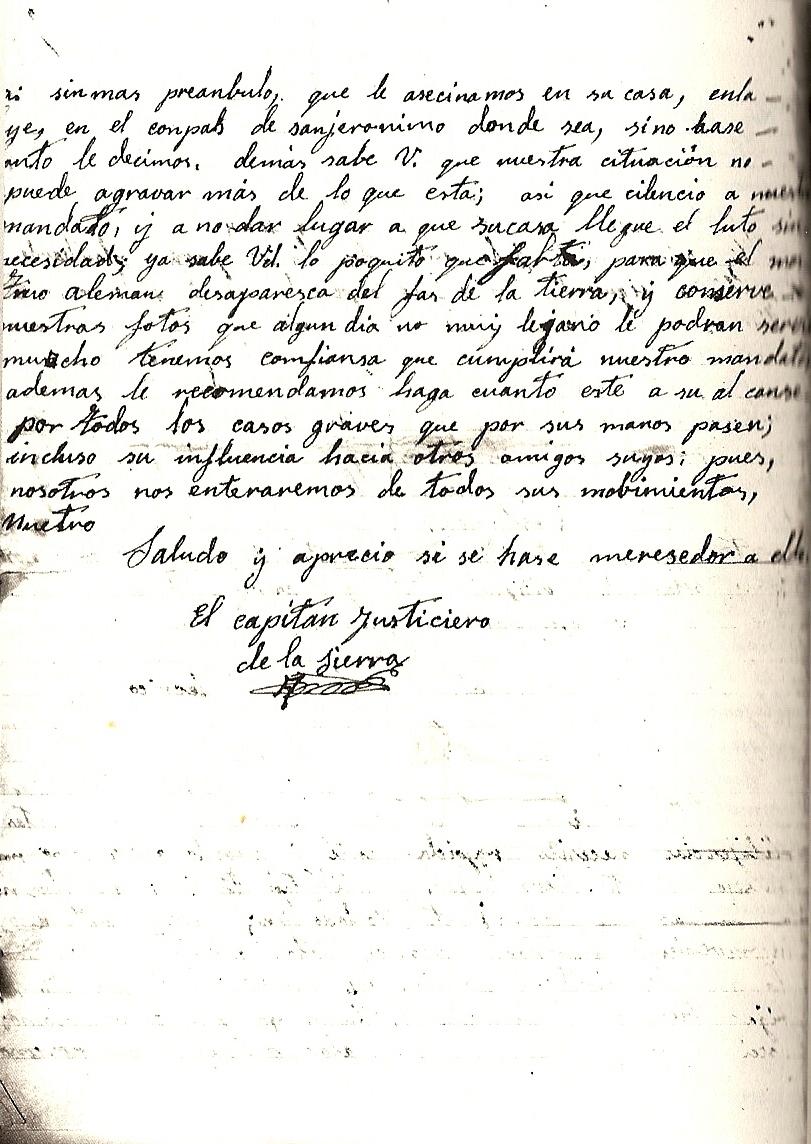 Continuación de la carta entregada al juez militar.