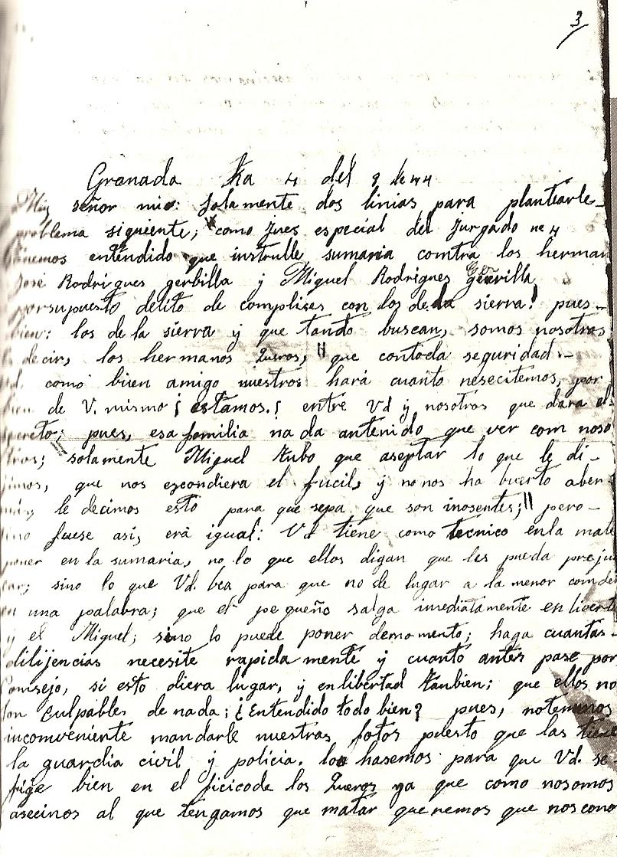 Carta entregada por los Quero al juez Segura Lacomba.