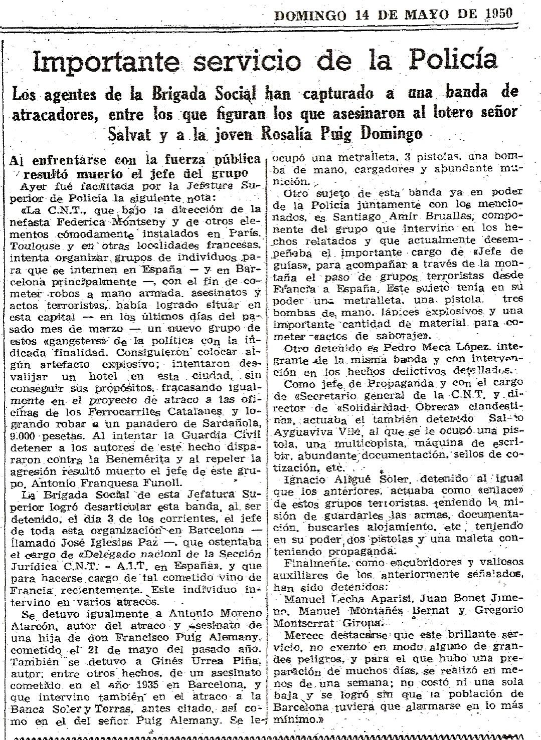 Detención de parte del grupo. La Vanguardia 14-5-1950.