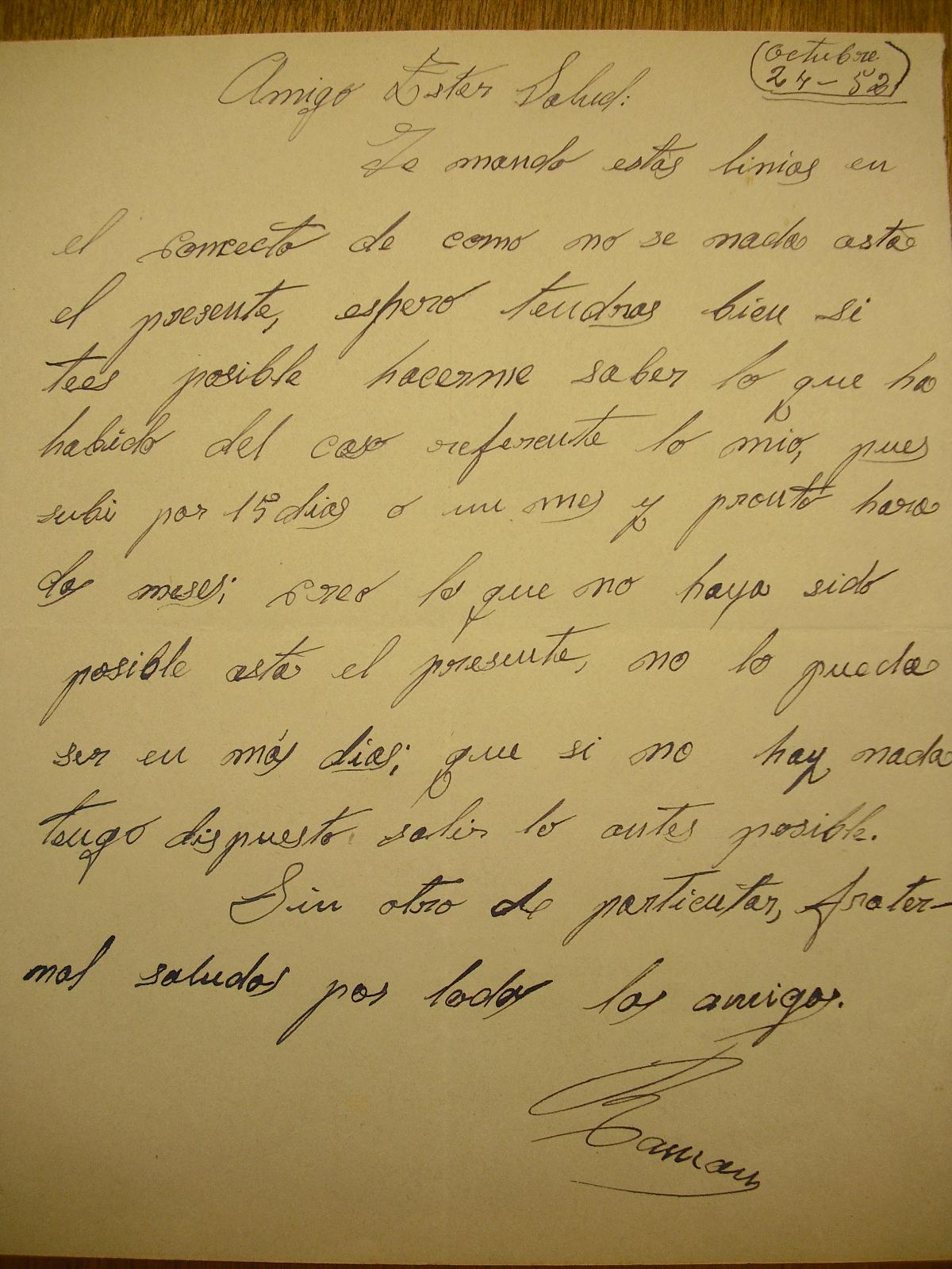 Carta remitida por Ramón Vila a Josep Ester, el 24 de octubre de 1952.