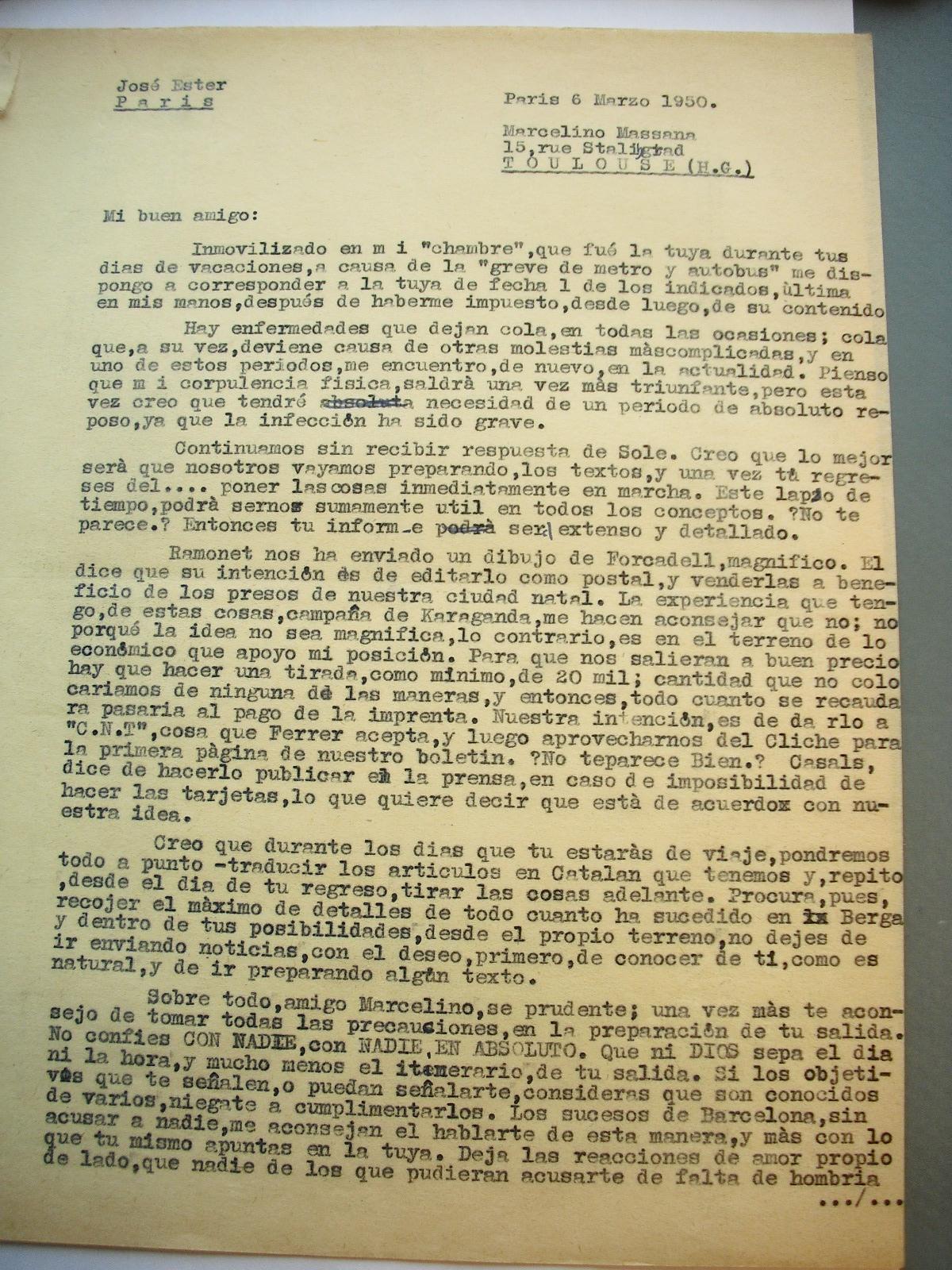 Correspondencia entre Josep Ester y Marcelino Massana, recalcando que actúe con total precaución ante las infiltraciones.