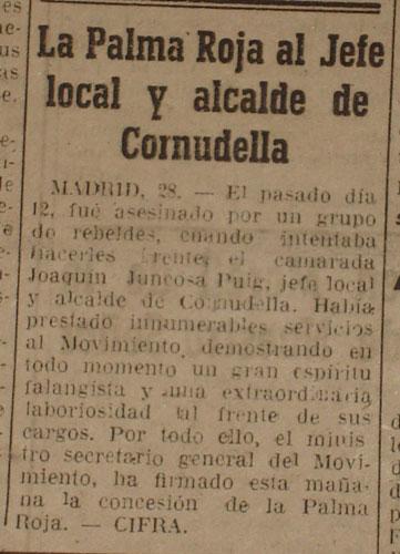 Referencia de La Vanguardia tras el asesinato de Joaquín Juncosa. 1-3-1945.