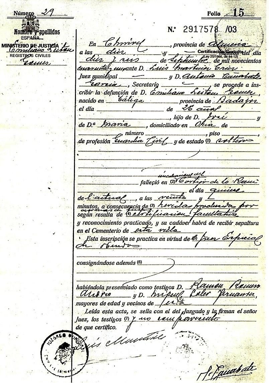Acta de defunción del guardia Emiliano Leitón