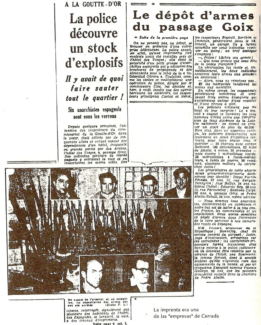 Imprenta y arsenal incautados a Cerrada. LE PARISIEN libèrè 11-5-1949