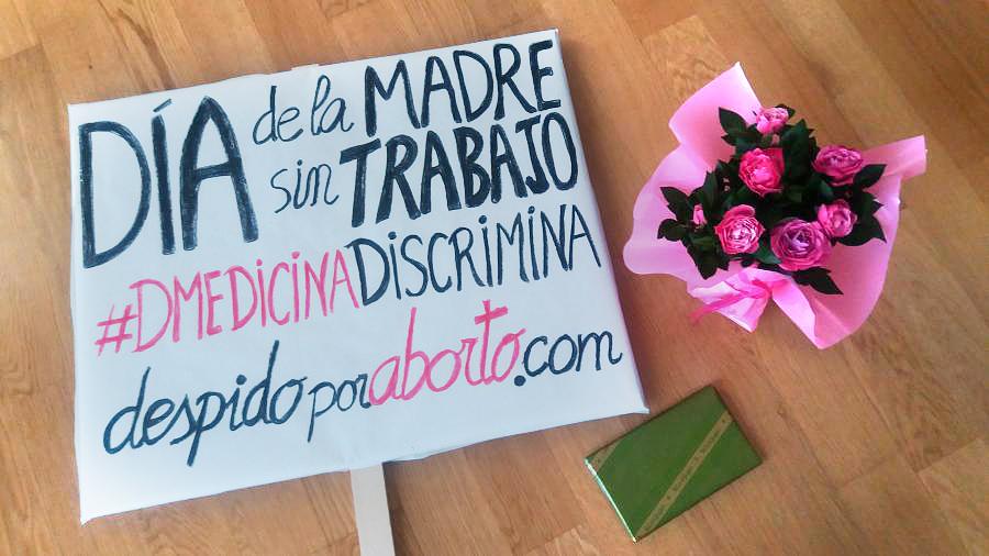 Imagen de la campaña de CNT en el Día de la madre contra el despido de la periodista Mónica Álvarez. / despidoporaborto.