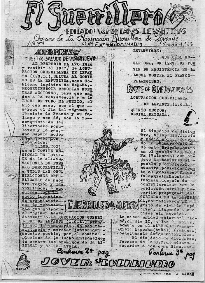 El Guerrillero,órgano de la Agrupación Guerrillera de Levante. (Enero 1947)