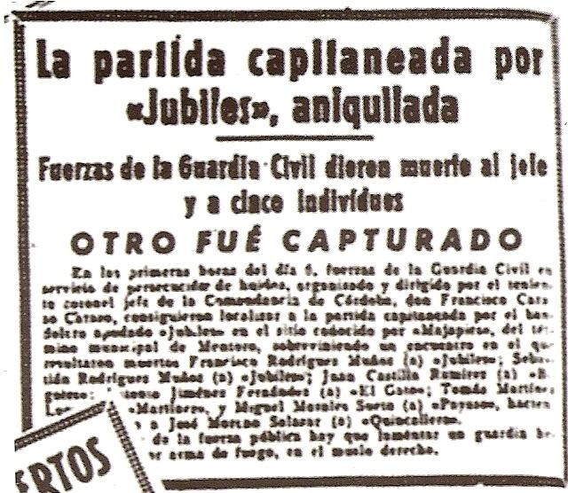 "Recorte deprensa sobre la matanza del cortijo ""Mojapies""."