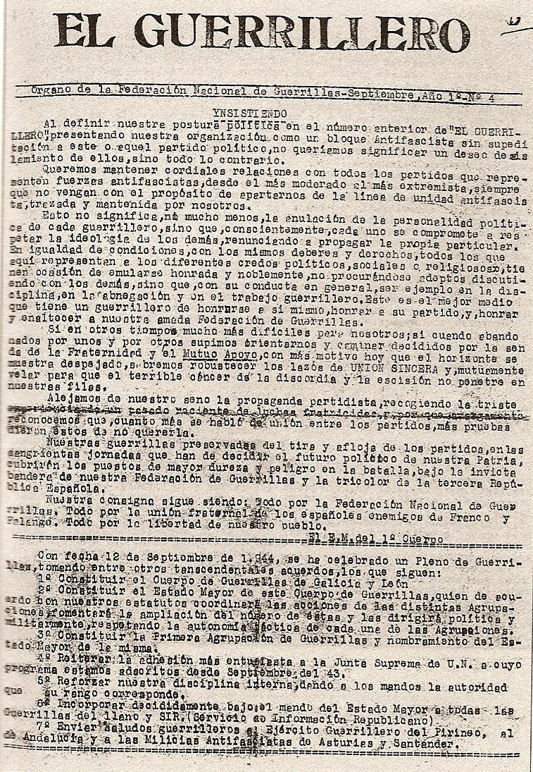 """Ejemplar de """"El Guerrillero"""" editado por la Federación. Nº 4, septiembre 1944."""