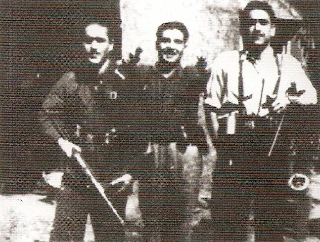"""Francisco Suárez """"Químico"""", Inocencio Ferreras """"Gitano"""" y Calixto López""""Zara""""."""