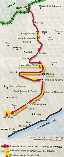 Itinerario de la última incursión del grupo del Quico. Enero de 1960.