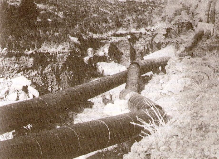 Central hidroeléctrica de Lafortunada, fue volada 3 veces entre 1944 y 1949, la foto pertenece al último sabotaje, realizado por un grupo de acción de la CNT en octubre de 1949.