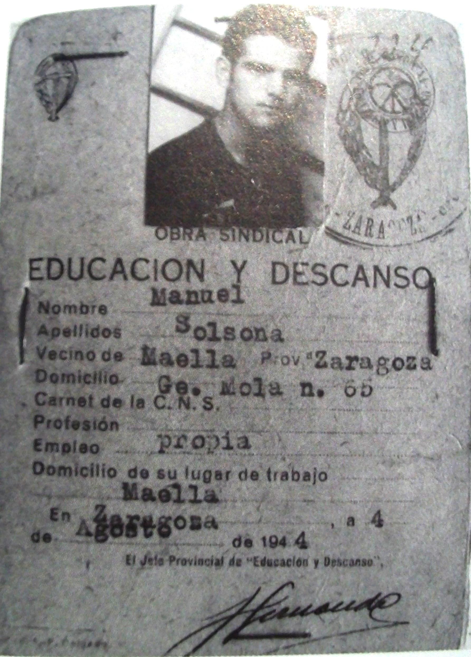 Documento de Manuel Solsona, ya infiltrado en falange.