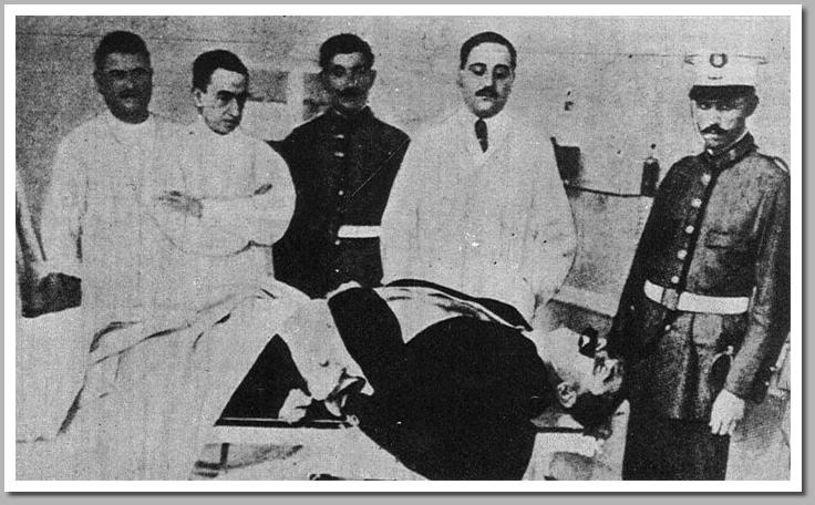 El cadáver de Bravo Portillo tras ser tiroteado por un grupo anarquista.