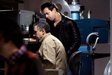 S. George en la cabina de proyeccion de la Filmoteca de Navarra, sede de Punto de Vista. Foto: Txisti