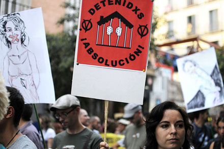 Manifestación de apoyo a los detenidos por las protestas de la Vivienda, celebrada este 1 de octubre  en Madrid. Foto: Álvaro Minguito.
