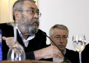 C. Méndez y F. Toxo. Máximos dirigentes de UGT y CC.OO. respectivamente