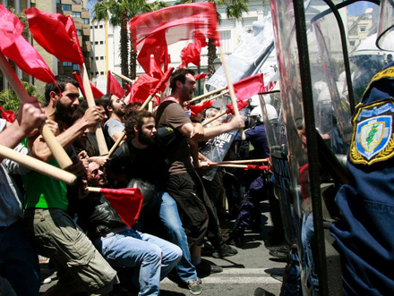Manifestación en Atenas en primavera de 2010.