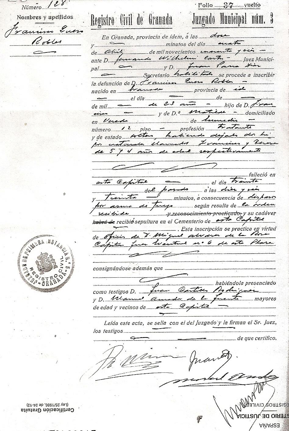 Partida de defunción de Francisco Quero Robles.