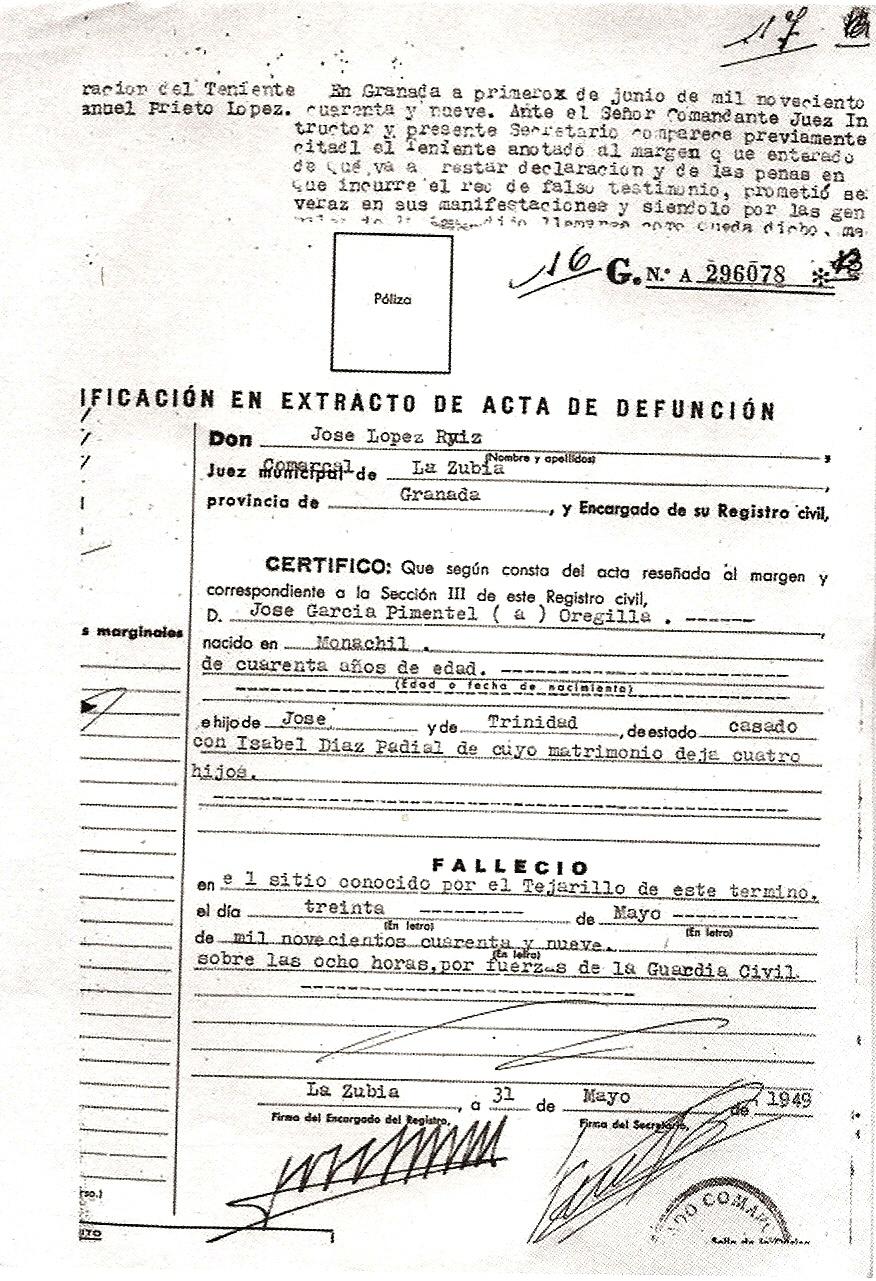 """Partida de defunción de José garcía Pimentel """"Orejilla"""", (30-5-1949)."""