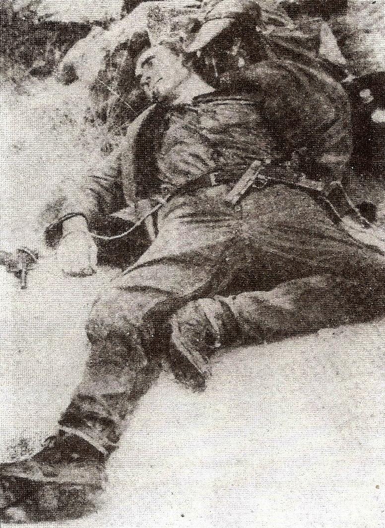 Cadáver de Ramón Vila Capdevila, tras el enfrentamiento con la guardia civil.