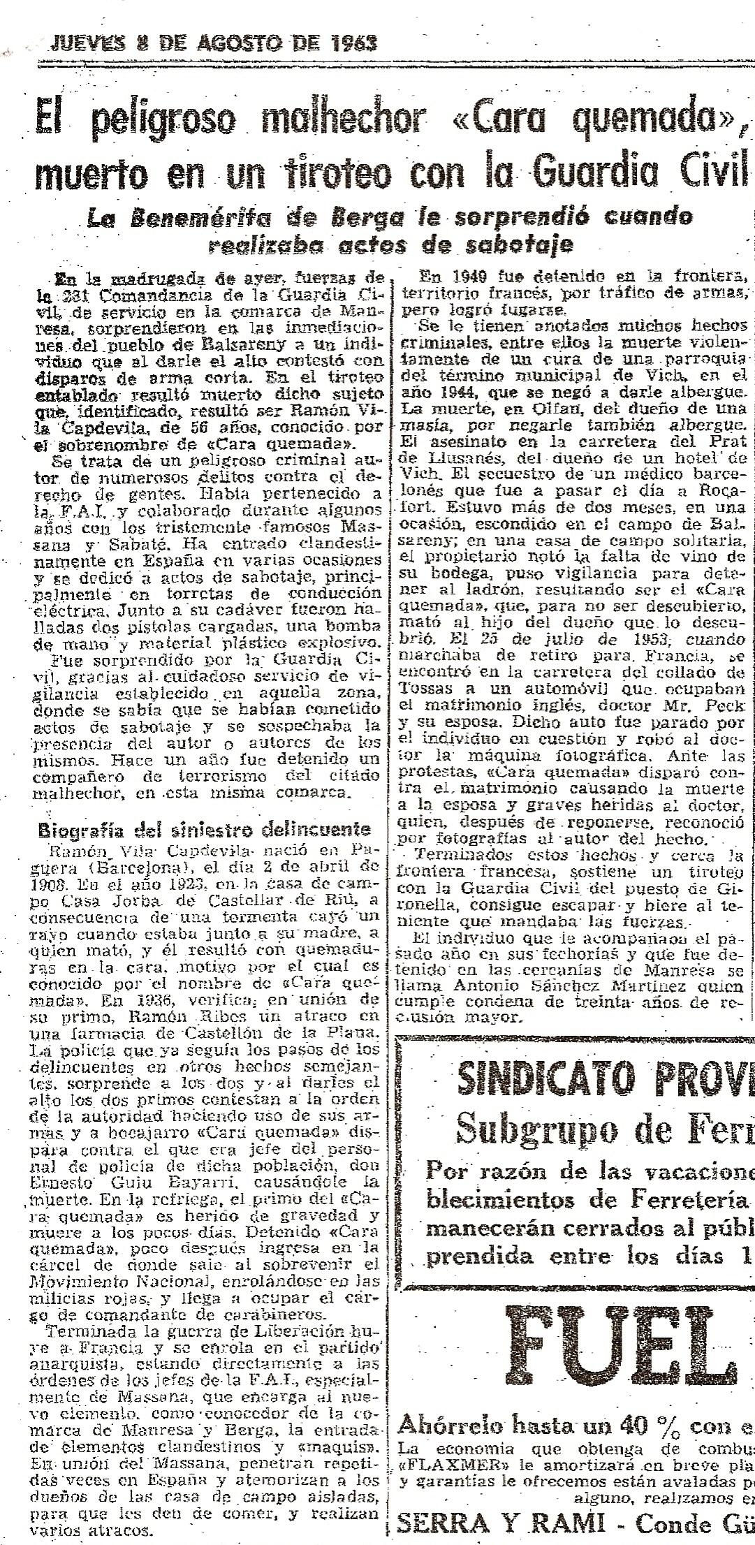 Recorte de prensa del 8-8-1963, referido a la muerte de Ramón Vila.