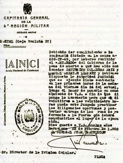 Confirmación de la sentencia de muerte contra Manuel y Saturnino.23-2-1950