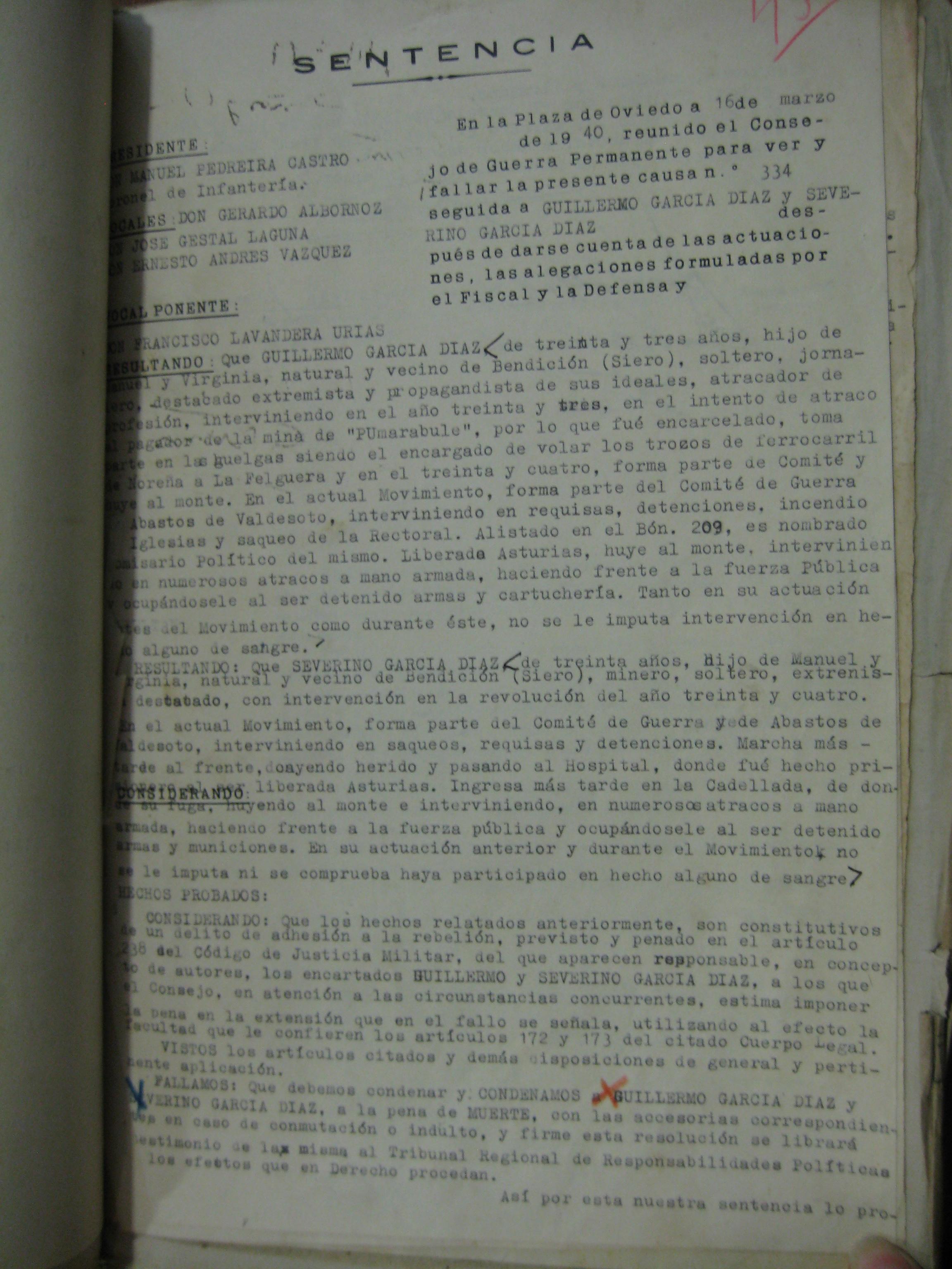 Sentencia judicial contra Guillermo y Severino García Díaz.