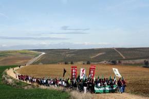 MARCHA A SOMONTE. Decenas de campesinos marchan hacia la finca ocupada (Foto: Carmela Negrete)