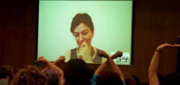 Rania Antonopoulou en el V Congreso de Economía feminista celebrado en Vic el 4 de julio.